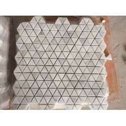 triangle shape white marble mosaic tile