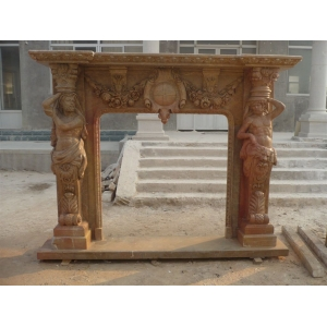 marble decorative fireplace mantel with carving