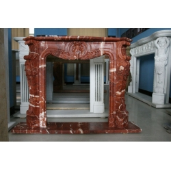 Red Marble Fireplace Mantel