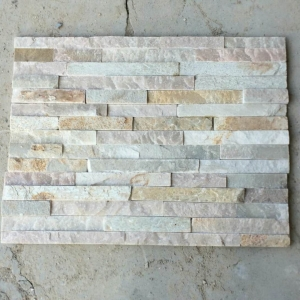 top S503 Yellow White quartize culture stone for wall for sale
